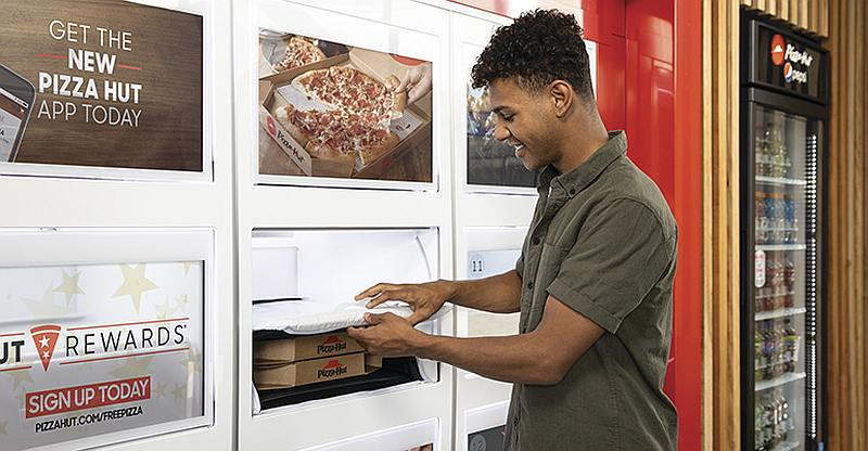 Pizza Hut is testing pick-up lockers which will keep their pizzas hot for customers. — Picture courtesy of Pizza Hut via AFP