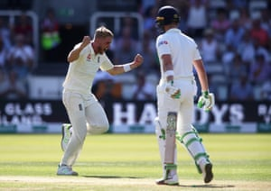 Olly Stone of England celebrates after taking the wicket of Andy Balbirnie of Ireland.