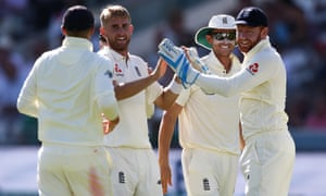 Olly Stone of England celebrates after taking the wicket of Gary Wilson of Ireland.