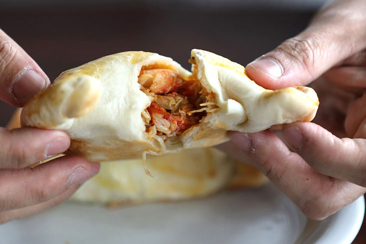 A savoury 'empanada' filled with crab meat and cheese