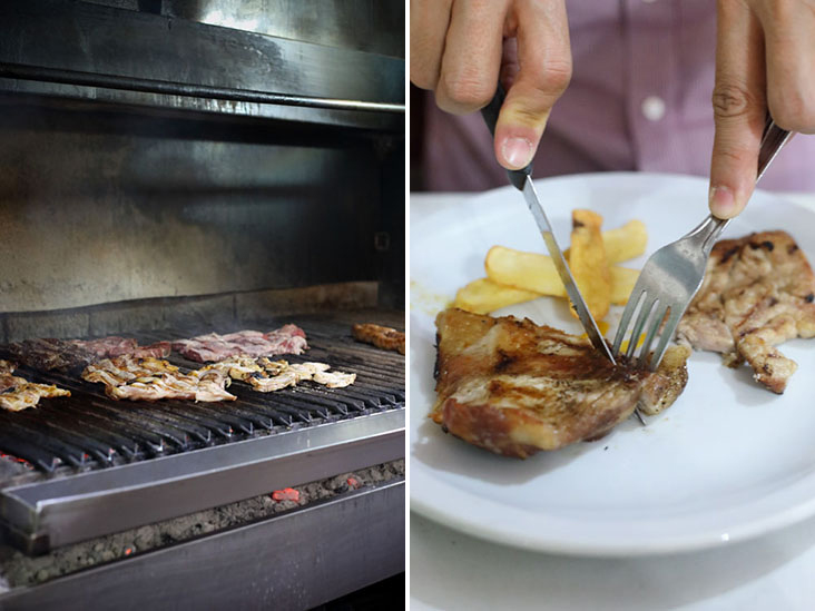Meats on the grill inside a 'parilla' or barbecue restaurant (left). Enjoy your lightly charred 'asado' with a side of fries and topped with chimichurri (right).