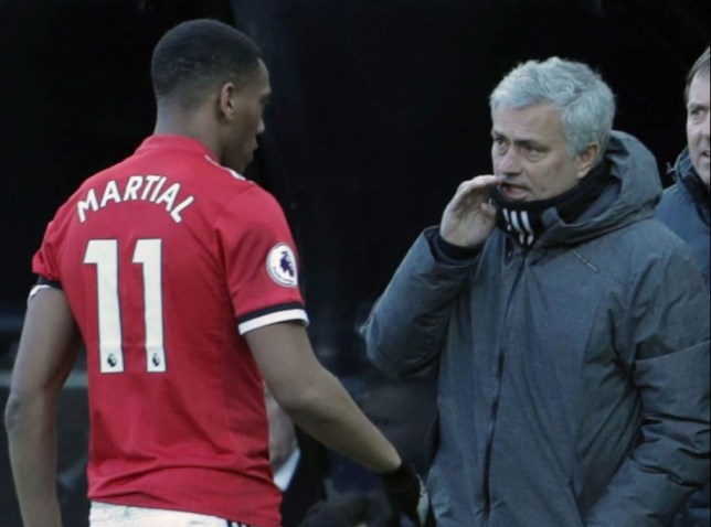 Anthony Martial and Jose Mourinho during their time together at Manchester United