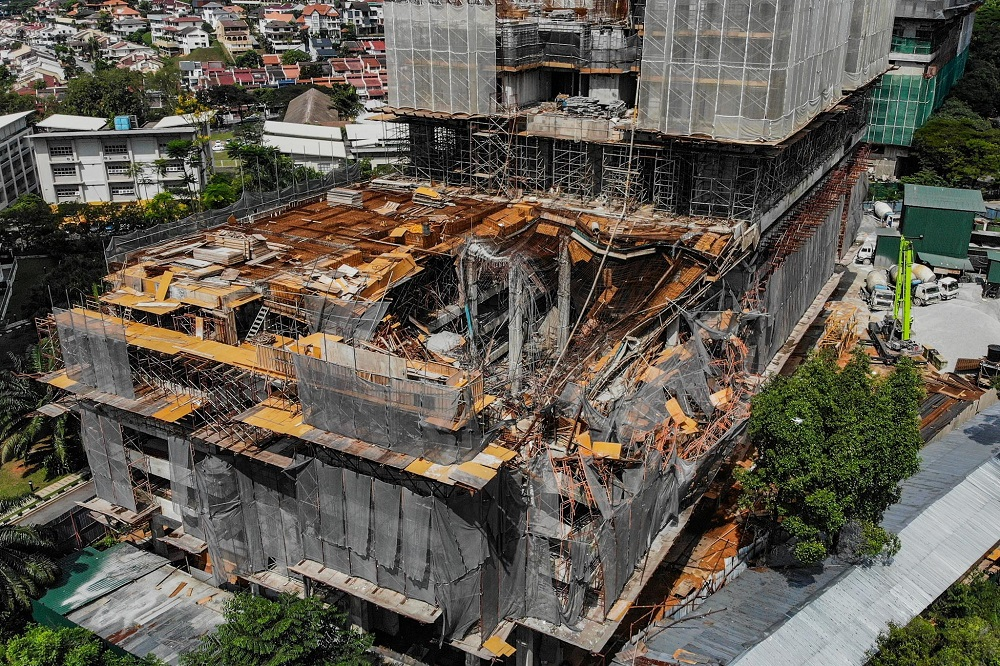 Aerial view of the slab collapse at The Address condominium project in Taman Desa February 15, 2020. — Picture by Hari Anggara