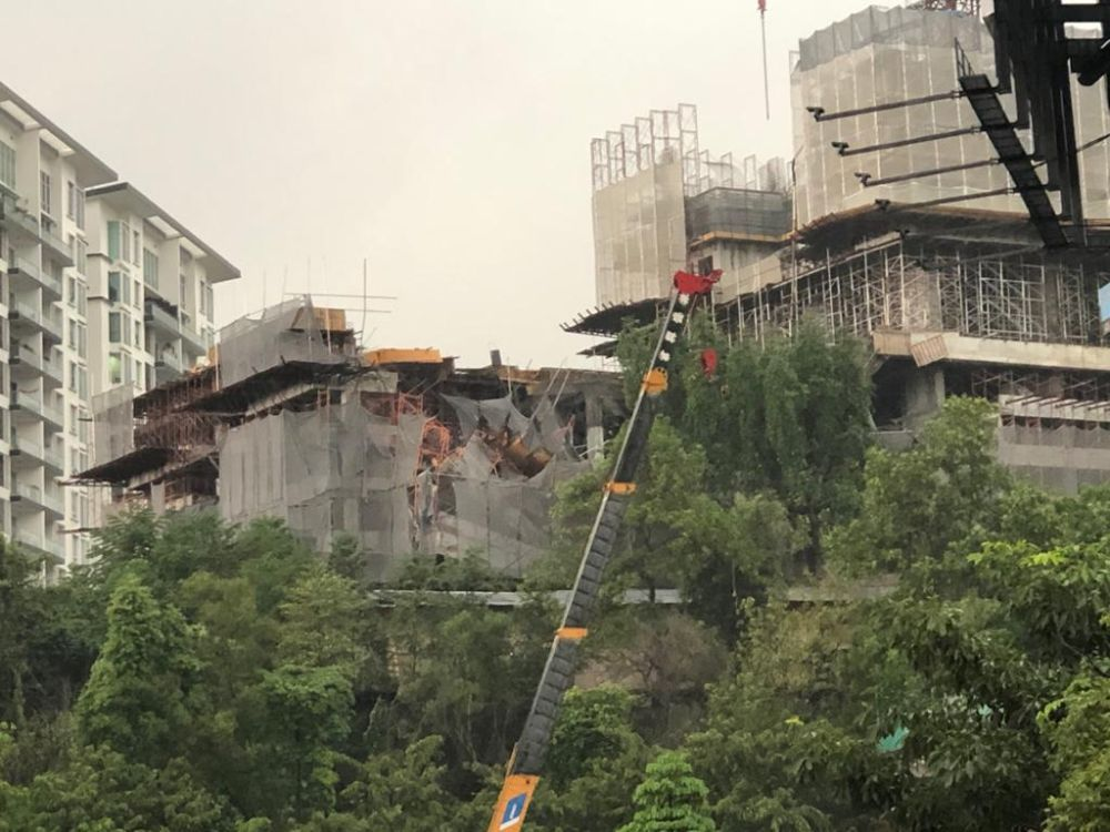 A general view of the damages to the condominium project that is still under construction in Taman Desa February 14, 2020. — Picture via Facebook