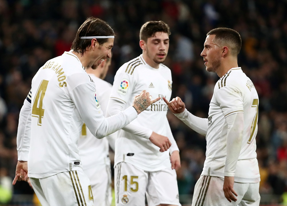 Real Madrid's Sergio Ramos celebrates scoring their second goal with Eden Hazard at the Santiago Bernabeu stadium in Madrid February 16, 2020. — Reuters pic