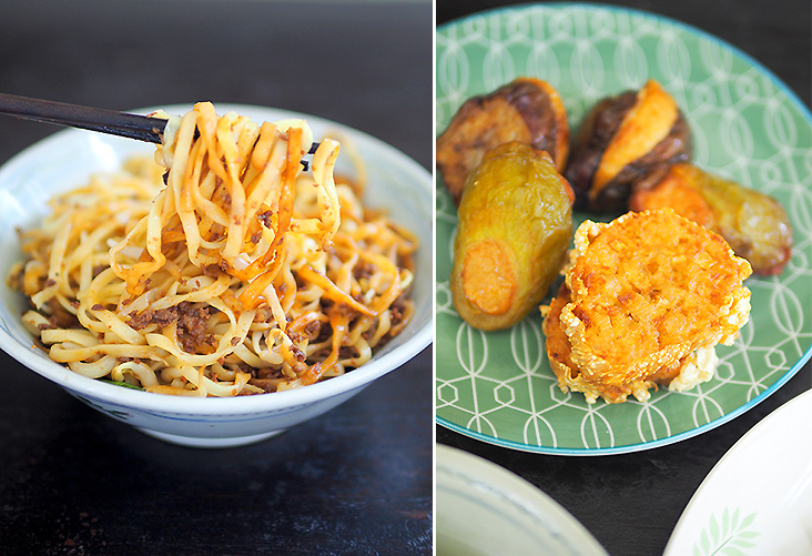 The Hakka mee comes with minced meat and makes for a satisfying meal (left). You can order the fried items like the 'sar kok liew', a yam bean fritter unique to Perak together with stuffed brinjal and bitter gourd (right).