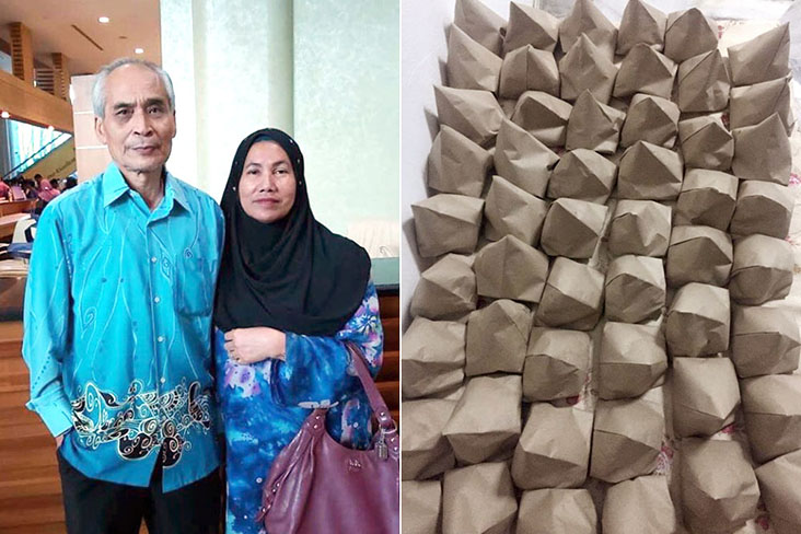 As part of their Ramadan Bundle, llaollao Malaysia and Pebble are offering their customers 'nasi lemak' by stall owner Cik Shazana and her parents (pictured)