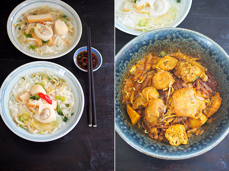 If you prefer a simple meal, try the clear broth 'hor hee' noodles that is served with fish cake slices, fish skin wantan and fishball (left). The dry curry chicken noodle may not look attractive but it is delicious (right).