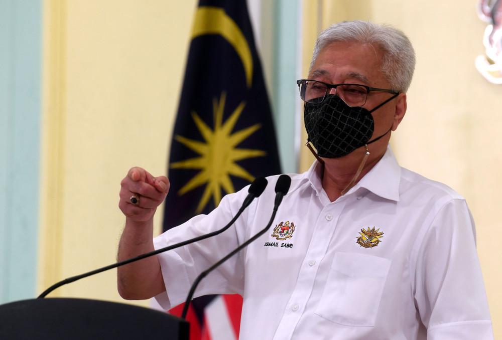 Senior Minister (Security Cluster) Datuk Seri Ismail Sabri Yaakob during a press conference at the Perdana Putra building in Putrajaya, May 11, 2021. — Bernama pic