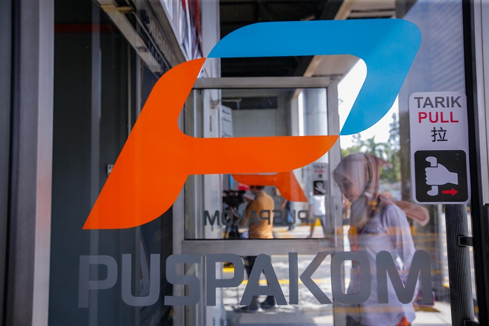The Puspakom logo is seen at the entrance of the Wangsa Maju Puspakom branch in Kuala Lumpur February 7, 2020. — Picture by Hari Anggara
