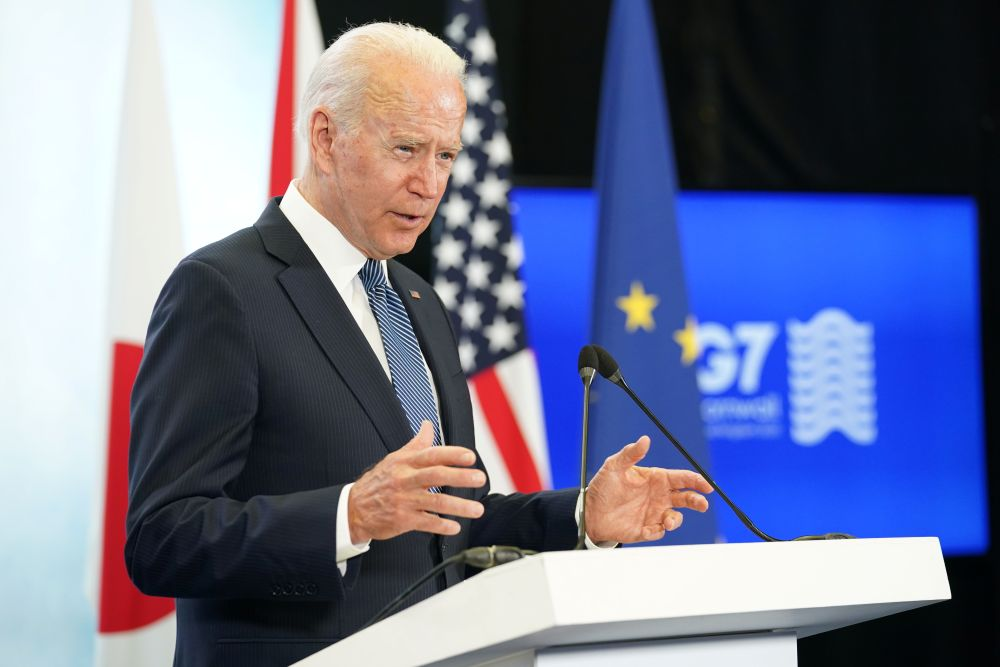 US President Joe Biden holds a news conference at the end of the G7 summit, at Cornwall Airport Newquay June 13, 2021. — Reuters pic