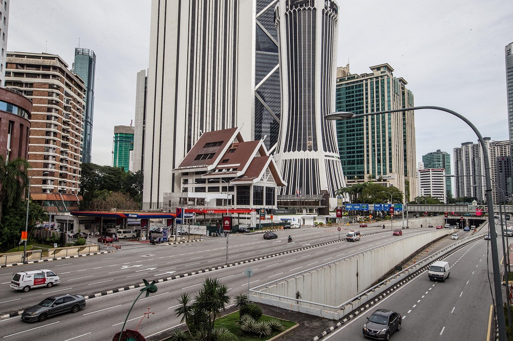 A general view of traffic along Jalan Tun Razak as the movement control order takes place in Kuala Lumpur January 13, 2021. —  Picture by Firdaus Latif