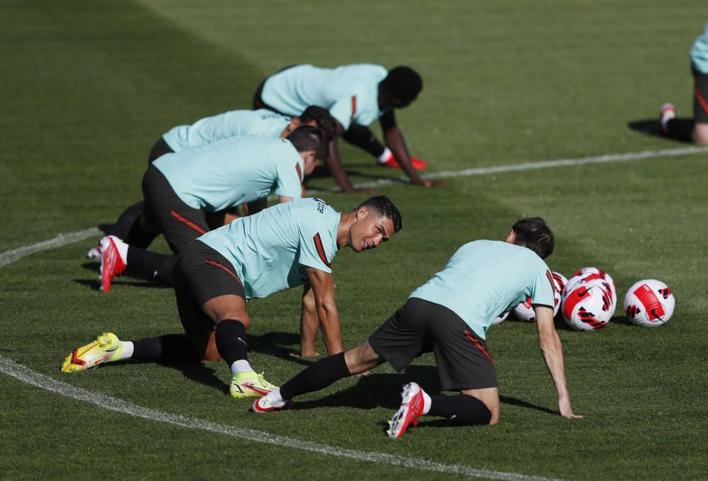 Portugal's Cristiano Ronaldo with teammates during training at Cidade do Futebol, Lisbon August 30, 2021. — Reuters pic