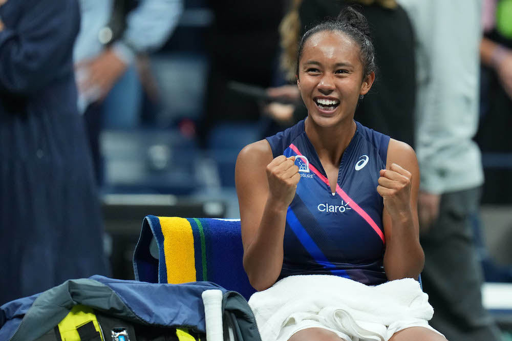 Leylah Fernandez of Canada celebrates after her match against Aryna Sabalenka of Belarus (not pictured) on day eleven of the 2021 US Open tennis tournament at USTA Billie Jean King National Tennis Centre in Flushing, New York, September 9, 2021. — Reute