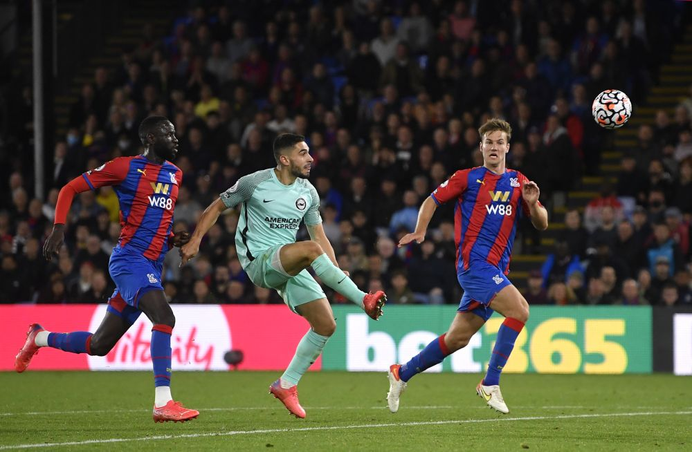 Brighton & Hove Albion's Neal Maupay scores their first goal against Crystal Palace at Selhurst Park, London September 27, 2021. — Bernama pic
