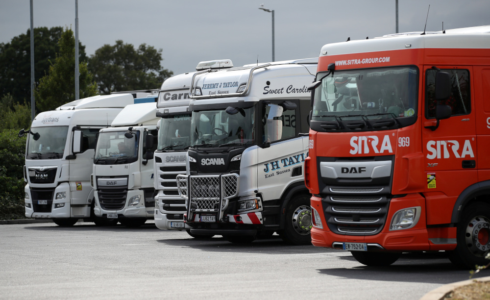 Lorries are seen at an HGV parking, at Cobham services on the M25 motorway, Cobham August 31, 2021. — Reuters pic