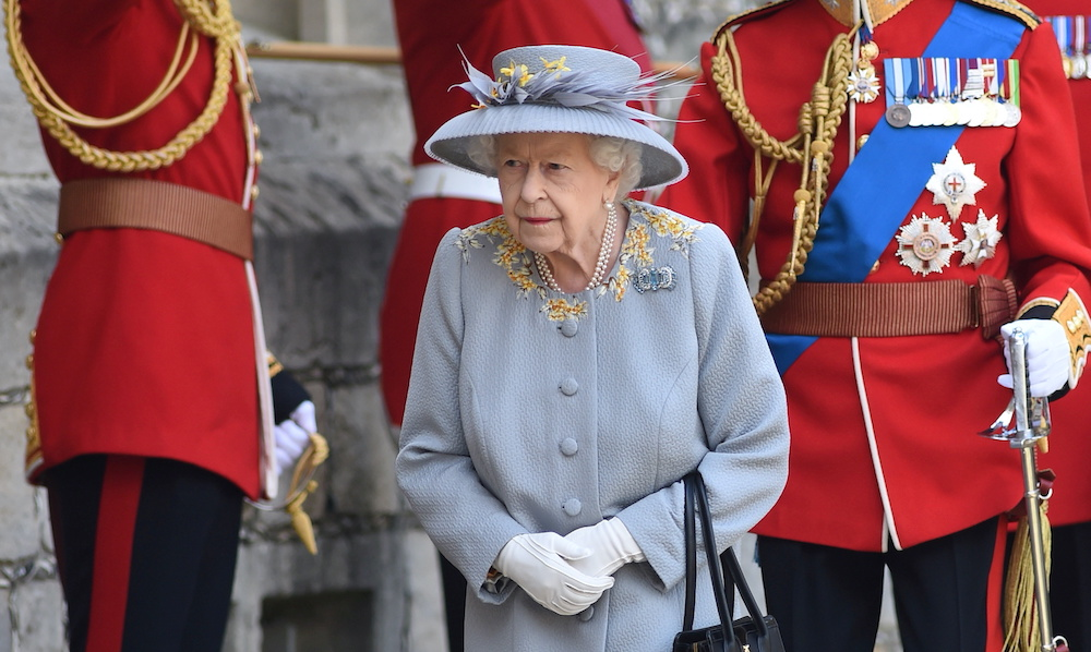 Britain's Queen Elizabeth arrives for the ceremony to mark her official birthday at Windsor Castle in Windsor, Britain June 12, 2021. ― Reuters pic