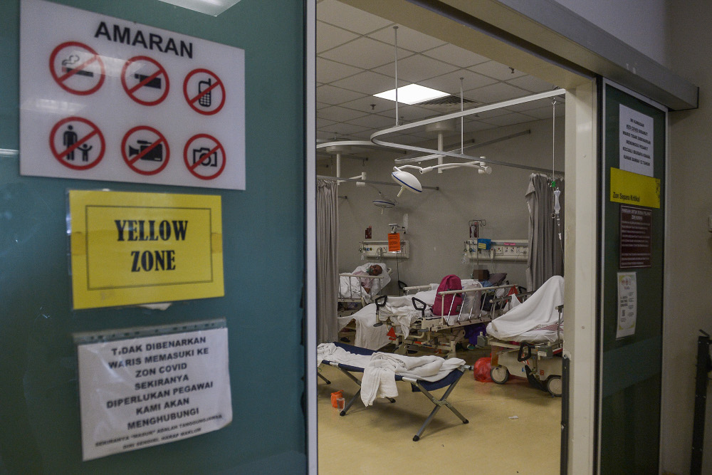 File picture of the Covid 19 ward of the Shah Alam Hospital July 23, 2021. — Picture by Miera Zulyana
