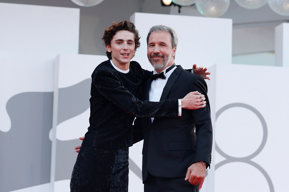 Actor Timothee Chalamet and director Denis Villeneuve pose ahead of the screening of the film 'Dune' at the Venice Film Festival in Venice September 3, 2021. — Reuters pic