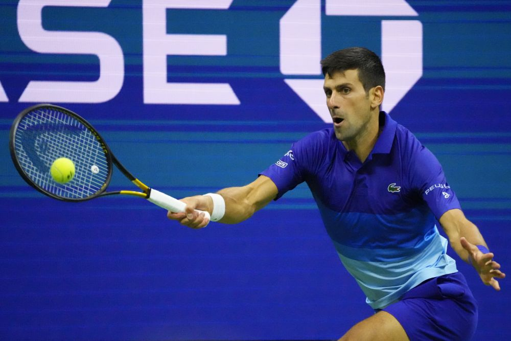 Novak Djokovic of Serbia hits a forehand against Alexander Zverev of Germany at the USTA Billie Jean King National Tennis Centre New York September 10, 2021. — Reuters pic