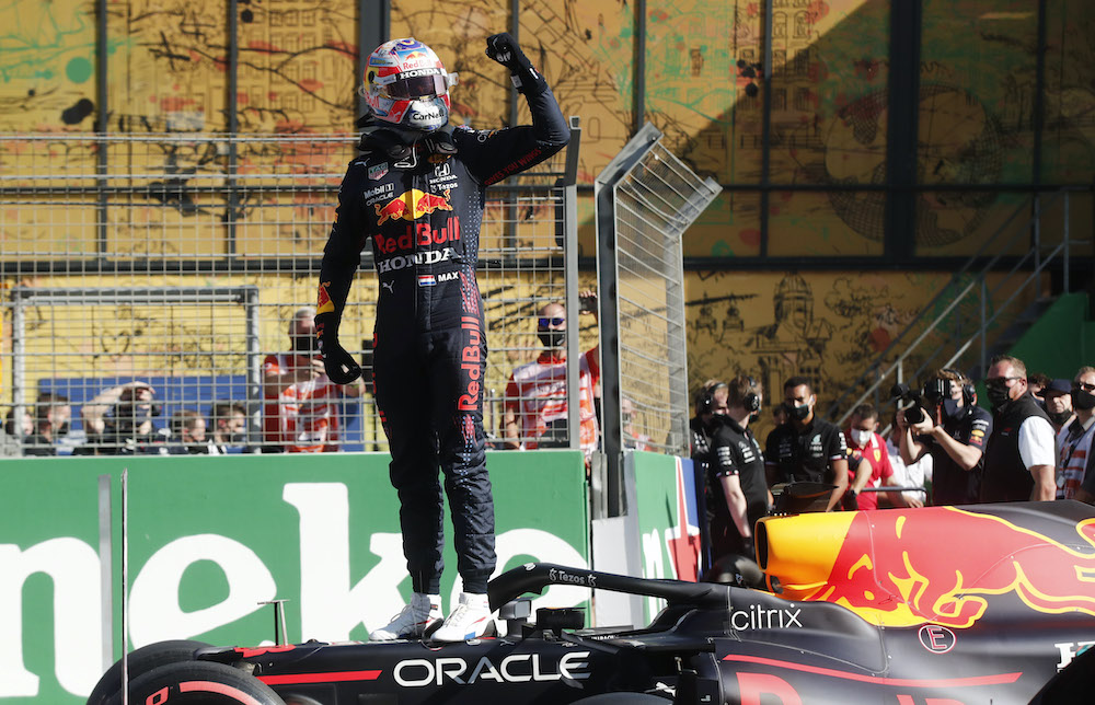 Red Bull's Max Verstappen celebrates qualifying in pole position at the Dutch Grand Prix in Zandvoort, Netherlands, September 4, 2021. — Reuters pic
