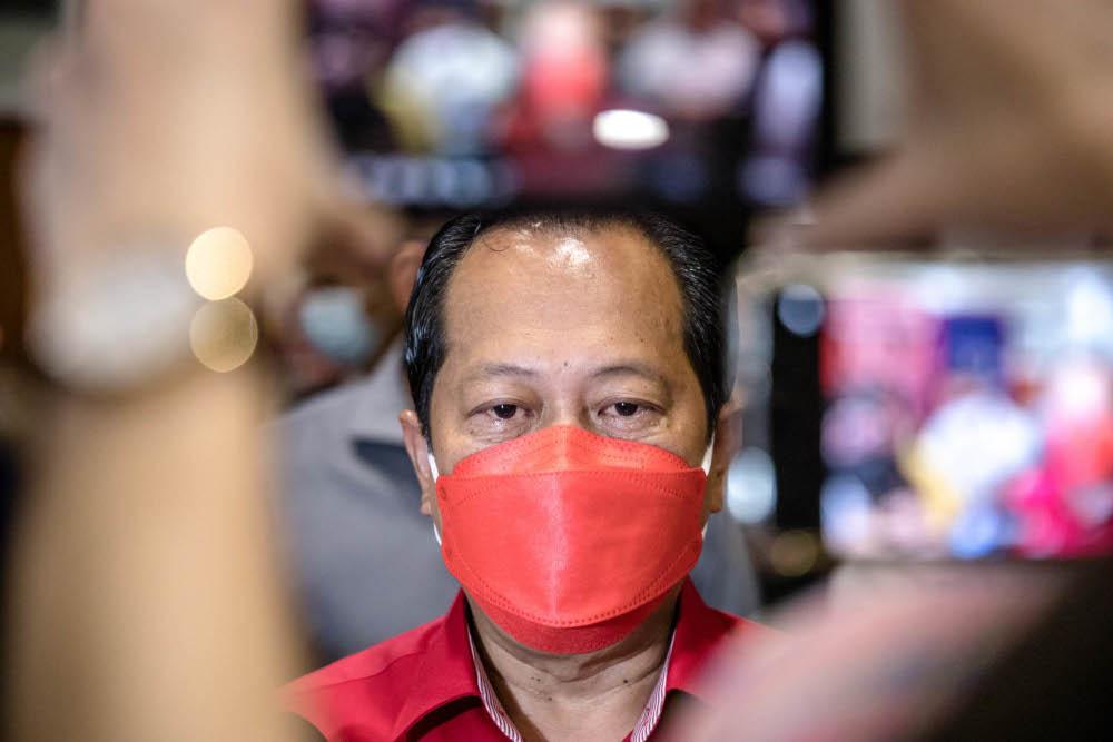 Umno secretary-general Datuk Seri Ahmad Maslan is pictured at Umno headquarters in Kuala Lumpur, October 14, 2021. — Picture by Firdaus Latif