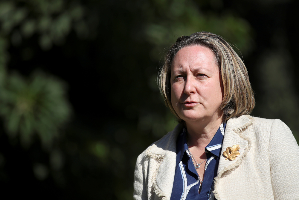 Britain's trade minister Anne-Marie Trevelyan poses for a photograph during an interview with Reuters, in Rome October 13, 2021. — Reuters pic