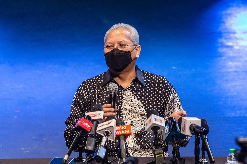 Communications and Multimedia Minister Tan Sri Annuar Musa speak during a press conference in Kuala Lumpur September 30, 2021. ― Picture by Firdaus Latif